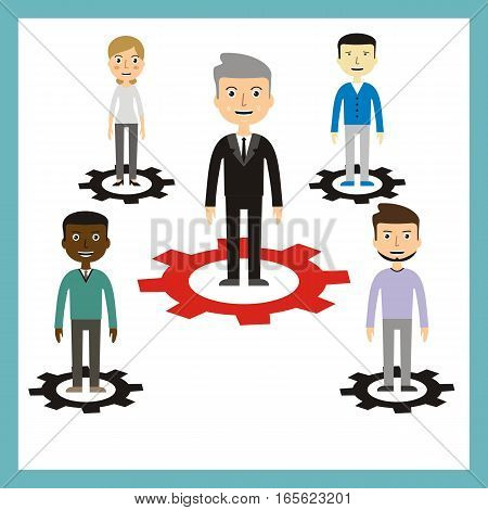 leadership concept. teamwork concepr. vector illustration. z