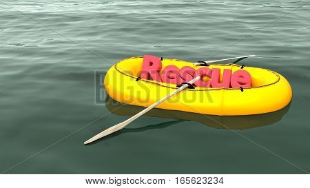 The red word rescue in a yellow rubber boat alone on the ocean help and support concept 3D illustration