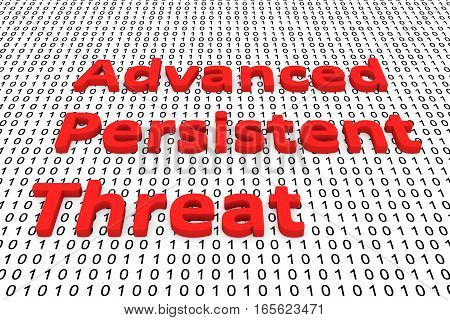advanced persistent threat in the form of binary code, 3D illustration