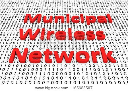 municipal wireless network in the form of binary code, 3D illustration