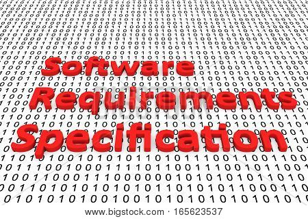 software requirements specification in the form of binary code, 3D illustration