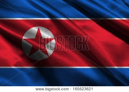 North Korea flag ,3D North Korea national flag 3D illustration symbol