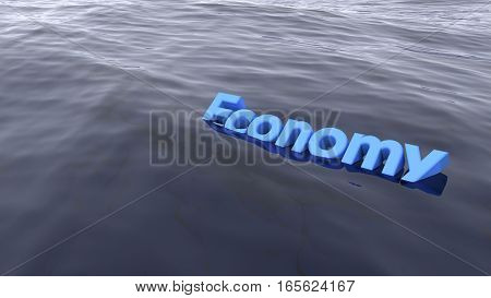 The blue word economy swimming in the ocean starting to sink business concept 3D illustration