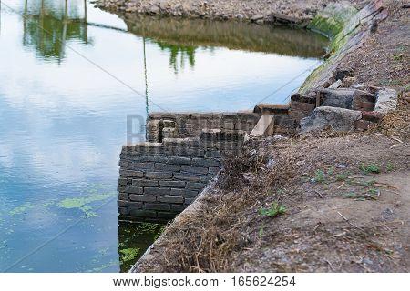 Old Concrete Drain Water In Fish Farms.