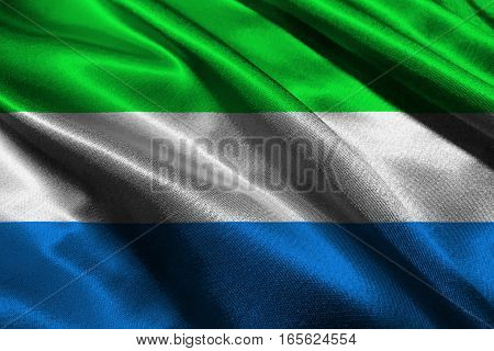 Sierra Leone flag ,Sierra Leone national flag 3D illustration symbol