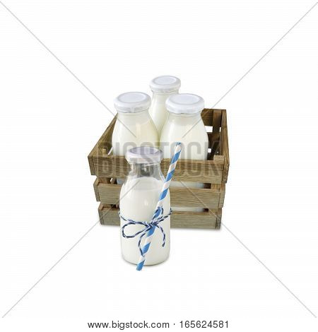 milk bottles in a box isolated on white background