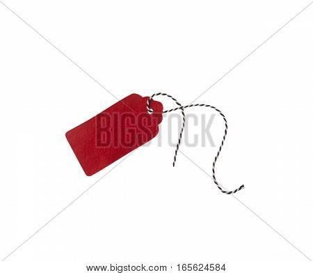 Gift tags isolated on white background. Sale labels. Price tags. Special offer and promotion. Store discount. Shopping time. Label from red felt.