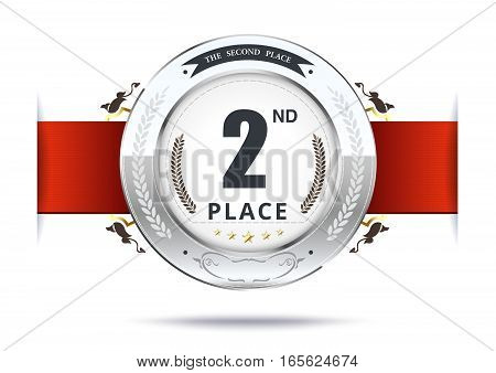 Silver Medal For Second Place. Vector Illustration