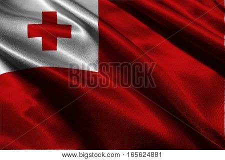 Tonga flag , Tonga flag 3D illustration symbol