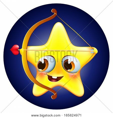 Funny amur star with bow and arrow on blue background congratulates with valentine`s day