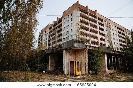 Chernobyl Exclusion Zone With Ruins Of Abandoned Pripyat City Zone Of Radioactivity Ghost Town.