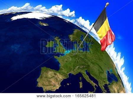 Belgium national flag marking the country location on world map. 3D rendering, parts of this image furnished by NASA