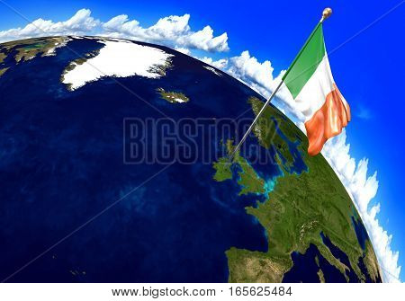 Ireland national flag marking the country location on world map. 3D rendering, parts of this image furnished by NASA
