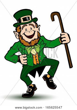Saint Patrick with a cane in his hands.Vector