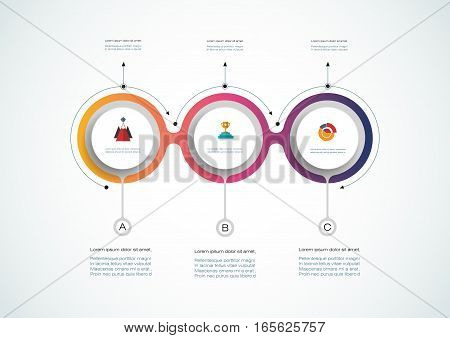 Vector infographics timeline design template with 3D paper label, integrated circles background. Blank space for content, business, infographic, diagram, digital network, flowchart, process,time line