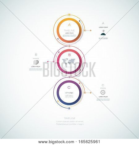 Vector infographics timeline design template with 3D paper label, integrated circles background. Blank space for content, business, infographic, diagram, digital network, flowchart, process, time line