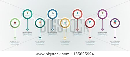 Vector infographics timeline design template with 3D paper label, integrated circles background. Blank space for content, business, infographic, diagram, digital network, flowchart ,process, diagram, time line
