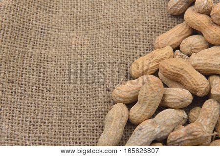 Peanut In The Shell On A Jute Background. Healthy Food. Copy Space
