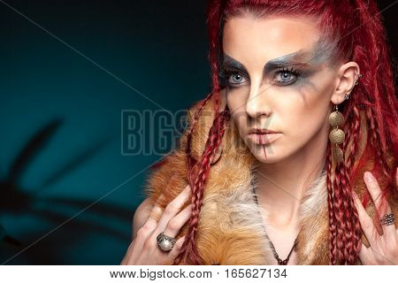 Creative Portrait Of A Girl With A Contrasting Color