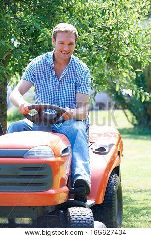 Man Cutting Grass Using Sit On Mower