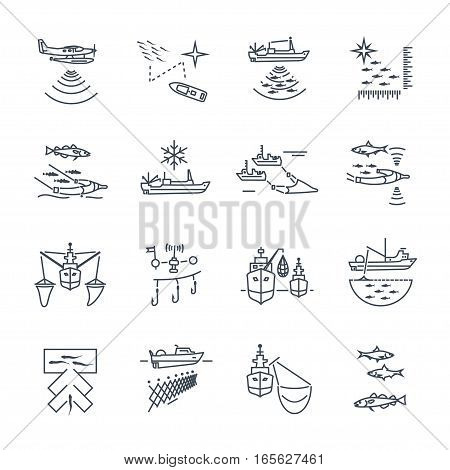 set of thin line icons commercial fishing process