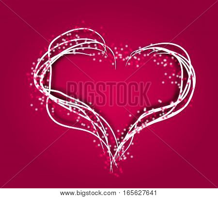 Illustration of heart decorated with dots and text Valentine's Day