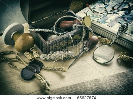 old accessories postman mail print still life business photo in old style image