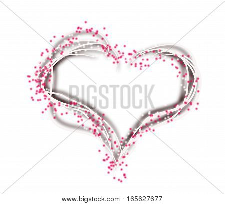Illustration of blank white heart decorated with pink dots