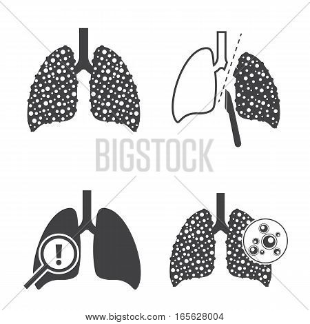 Sign of Lungs cancer icons. Vector icons set