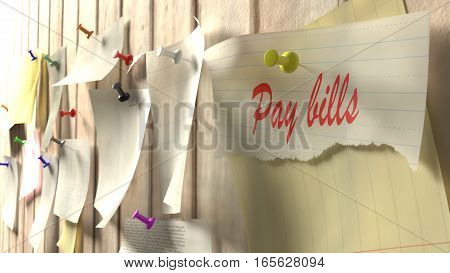 Reminder to pay the bills pinned to a kitchen wall 3D illustration