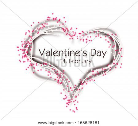Illustration of white heart decorated with pink dots and text Valentine's Day