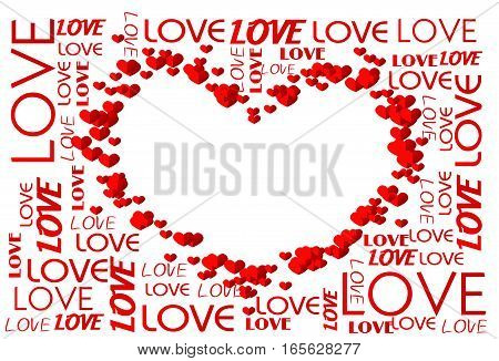 Heart set of small red hearts with white background decorated with white text love