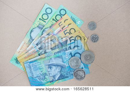 Australian money is on the brown background