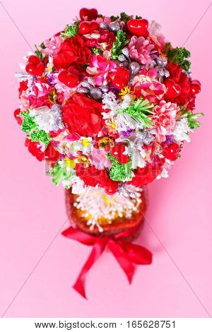 heart bouquet Valentine's day, flowers and bow, celebration, tenderness