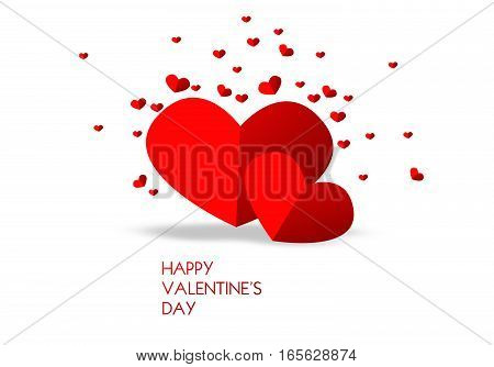 Valentine's greeting card with illustration of red hearts on white background