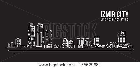 Cityscape Building Line art Vector Illustration design - Izmir city