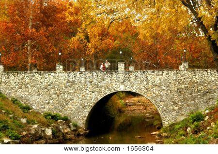 Bridge Of Stone In Autumn Scene