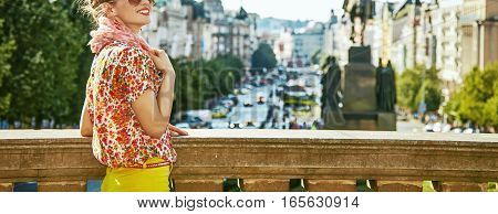 Tourist Woman On Vaclavske Namesti In Prague Having Excursion