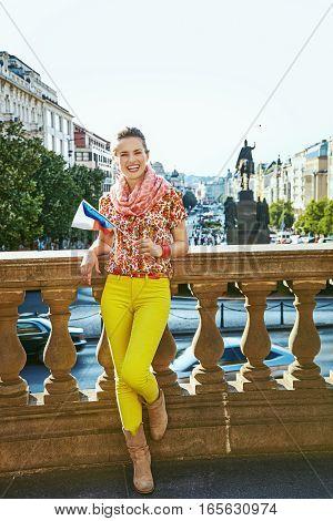 Happy Woman On Vaclavske Namesti In Prague With Czech Flag