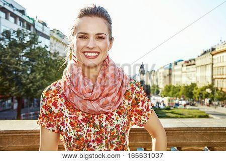Tourist Woman On Wenceslas Square In Prague Czech Republic
