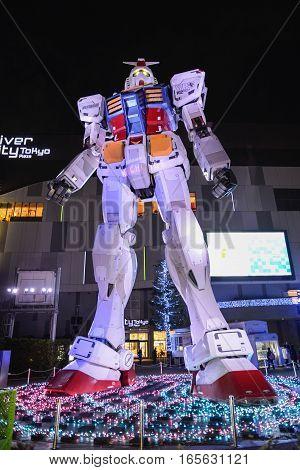 December 2016 in Tokyo Japan - Gundam statue at odaiba scale 11 RX-78-2 Version