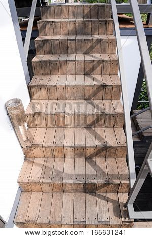 wooden of stair at the out door