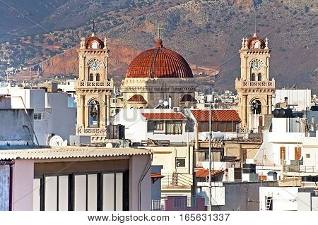 The Agios Minas Cathedral Heraklion city on the island of Crete, Greece