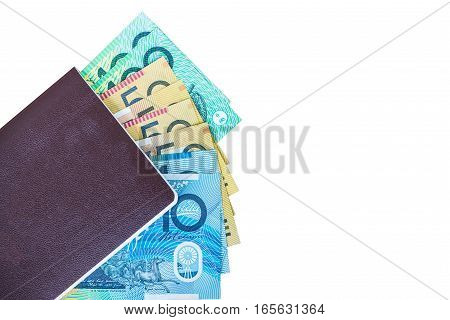 Thailand passport and australian money with isolated white screen