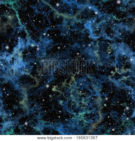 Abstract blue universe.  Nebula night starry sky. Shiny outer space. Galactic texture background. Seamless illustration.