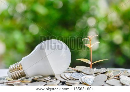LED bulb on coin stacks with growing plant - Concept of saving energy