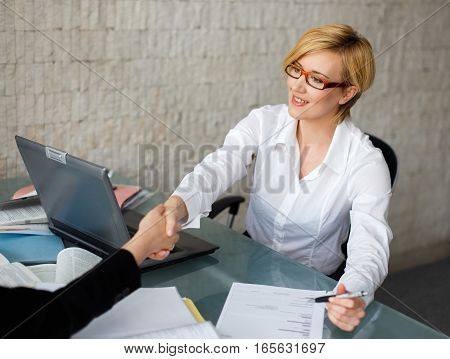 Businesswomen handshake in office successful women in business