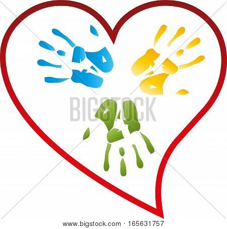 Hands and heart in red, childrens hands, illustration