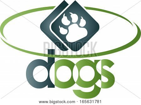 Dog paw and circle, paw and dog logo