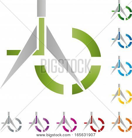 Dividers and circle, colored, construction and geometry logo